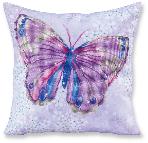 DD16.005 DIAMOND DOTZ® - 45x45cm Pillow - Papillon Mauve