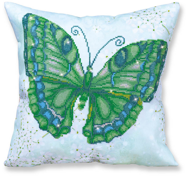 DD16.008 Diamond Dotz® - 44 x 44cm - Pillow - Papillon Vert