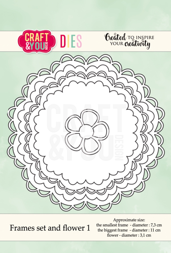 CW041 cutting dies Frames Set and Flower 1 - S 7,3cm, L 11cm Time4hobby