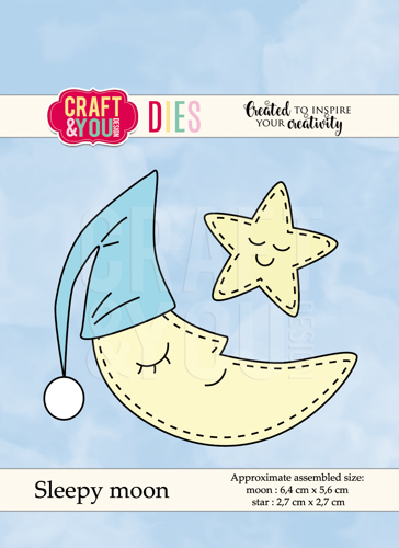 CW049 cutting dies Sleepy moon - moon 6,4x5,6cm - star 2,7x2,7cm