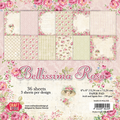 CPB-BR15 BELLISSIMA ROSA Small Paper Pad 6x6, 36 sheets, 190gsm