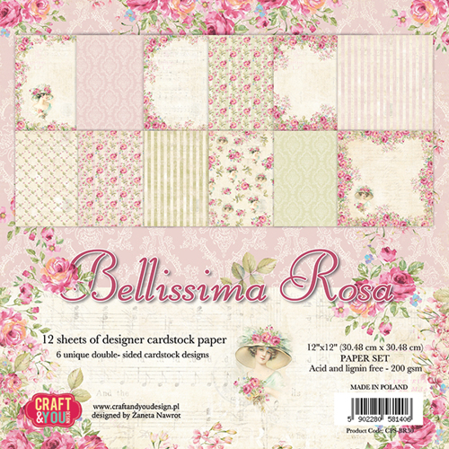 CPS-BR30 BELLISSIMA ROSA Big Paper Set 12x12, 12 sheets, 200 gsm