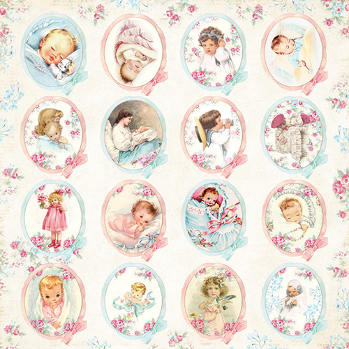 CP-SB07 SHABBY BABY Sheet of elements to be cut out 12X12,200gsm