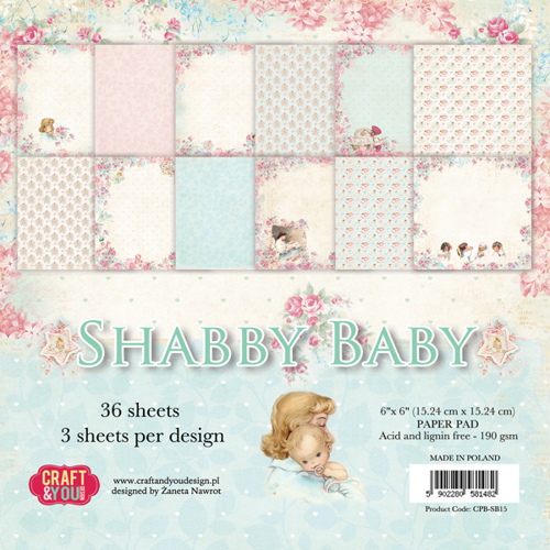 CPB-SB15 SHABBY BABY Small Paper Pad 6x6 , 36 sheets,190 gsm