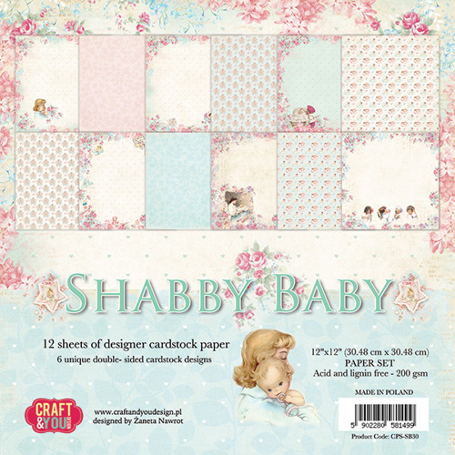CPS-SB30 SHABBY BABY Big Paper Set 12x12, 12 sheets, 200 gsm