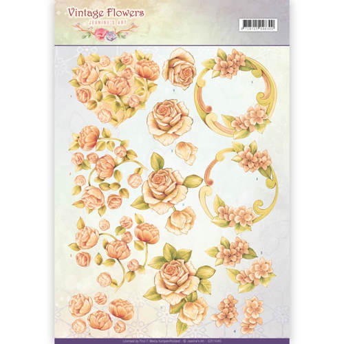 CD11045 3D Knipvel - Jeanine's Art - Vintage Flowers - Romantic Vintage