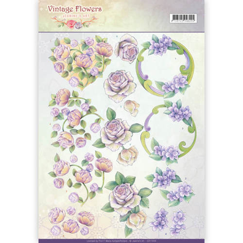 CD11044 3D Knipvel - Jeanine's Art - Vintage Flowers - Romantic Purple