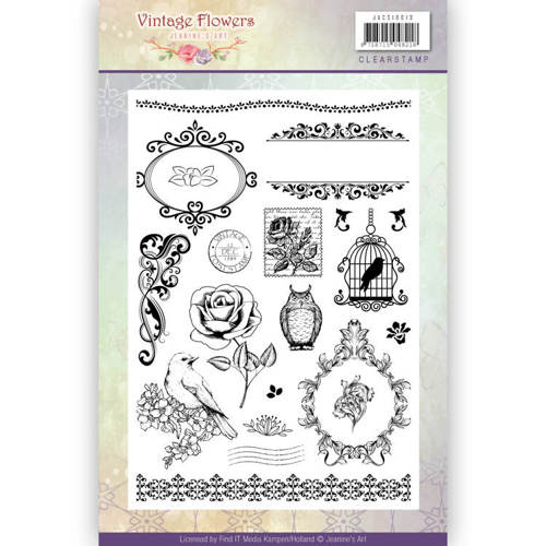 JACS10013 Clearstamp - Jeanine's Art - Vintage Flowers