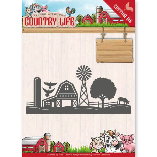 YCD10125 Dies - Yvonne Creations - Country Life Farm Border