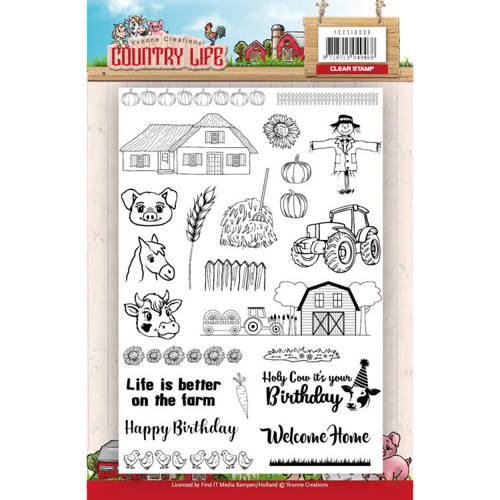 YCCS10039 Clearstamp - Yvonne Creations Country Life Tractors