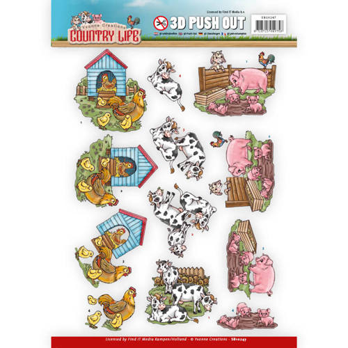 SB10247 Push Out - Yvonne Creations Country Life Farm Animals