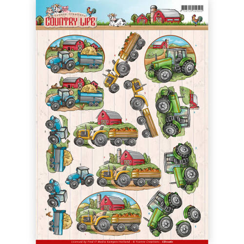 CD11061 3D Knipvel - Yvonne Creations - Country Life - Tractors