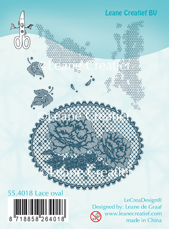 55.4018 Clear stamp Lace oval Roses