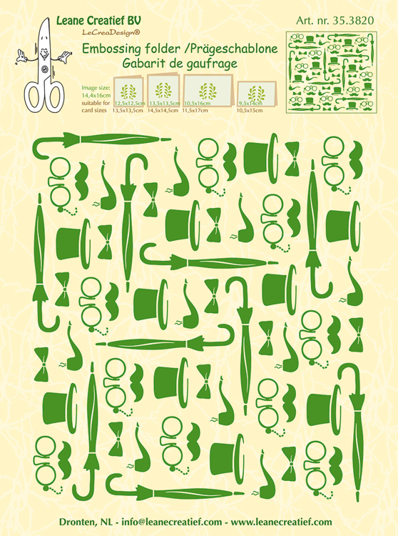 35.3820 Embossing folder background Gentlemen 14.4x16cm