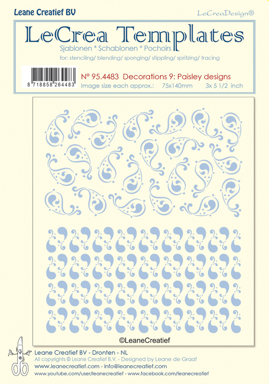 95.4483 Stencil decorations 9. Paisley designs, size each design  75x140mm