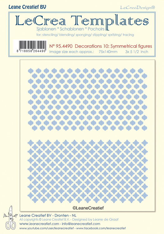 95.4490 Stencil decorations 10. Symmetrical designs, size each design  75x140mm