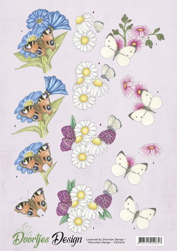 CD11078 3D knipvel Doortjes Design - Flowers & Butterflies