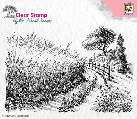 IFS005 Clear Stamps idyllic floral scene Cornfield and country road