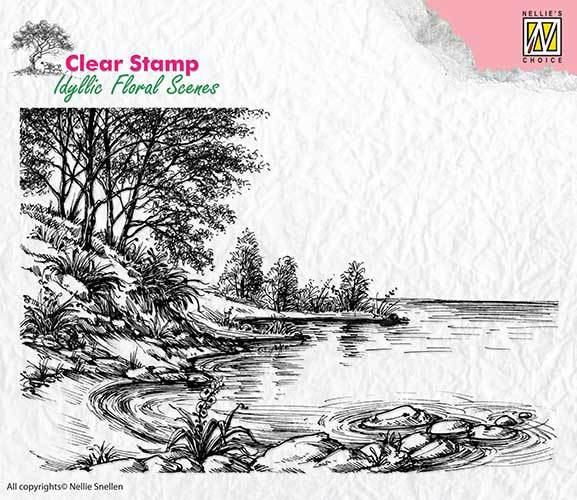IFS006 Clear Stamps idyllic floral scene Waters edge