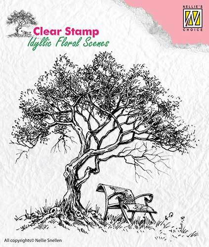 IFS007 Clear Stamps idyllic floral scene Tree with bench