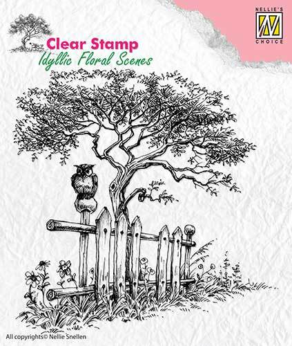 IFS008 Clear Stamps idyllic floral scene Tree with fence
