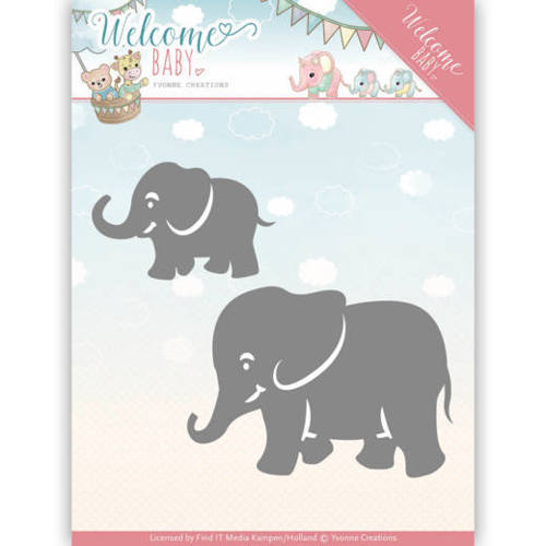 YCD10138 Dies - Yvonne Creations - Welcome Baby - Little Elephants