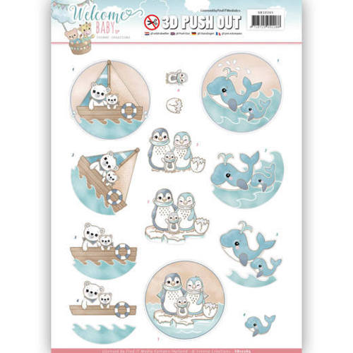 SB10265 3D Pushout - Yvonne Creations - Welcome Baby - By The Sea