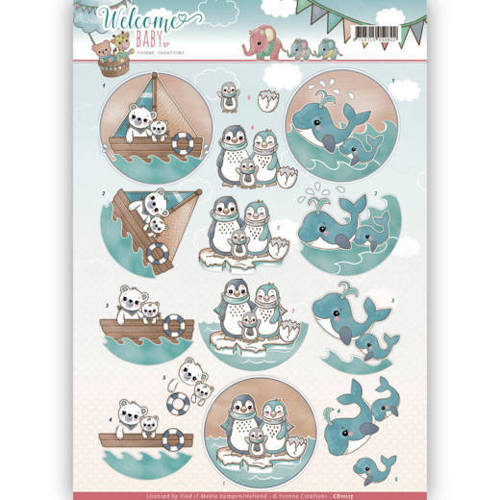 CD11117 3D-Knipvel - Yvonne Creations - Welcome Baby - By The Sea