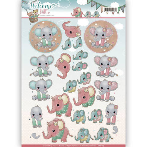 CD11115 3D-Knipvel - Yvonne Creations - Welcome Baby - Little Elephants
