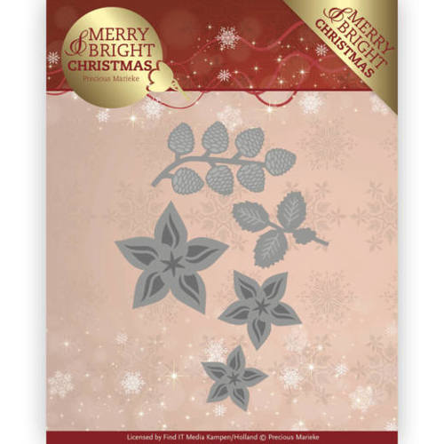 PM10132 Dies - Precious Marieke - Merry and Bright Christmas - Christmas Florals