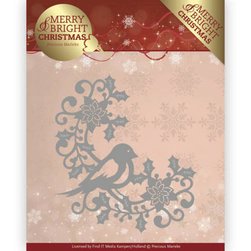 PM10130 Dies - Precious Marieke - Merry and Bright Christmas - Bird Corner