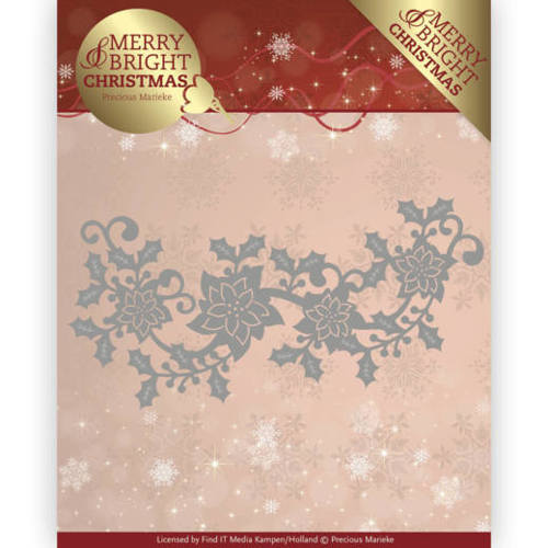PM10129 Dies - Precious Marieke - Merry and Bright Christmas - Poinsettia Border