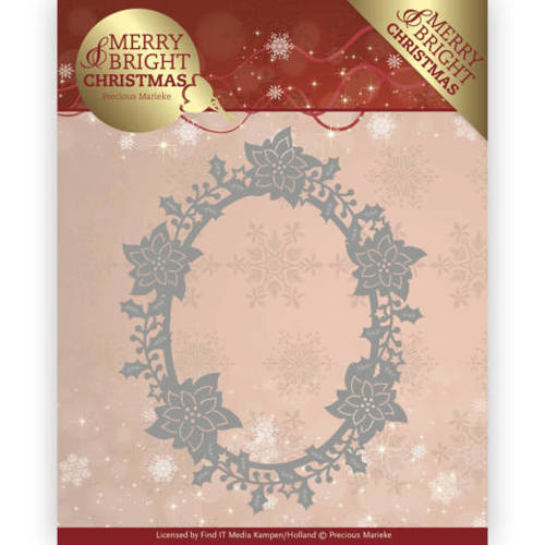 PM10126 Dies - Precious Marieke - Merry and Bright Christmas - Poinsettia Oval