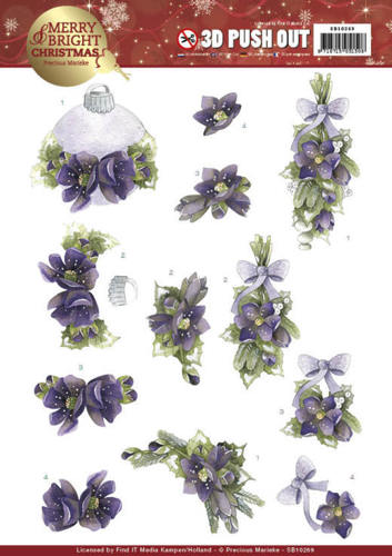 SB10269 3D Push Out - Precious Marieke - Merry and Bright Christmas - Bouquets in Purple