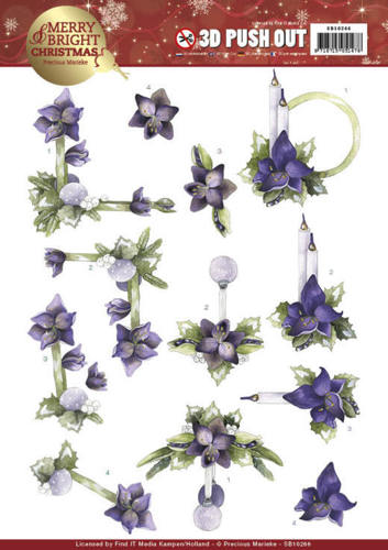 SB10266 3D Push Out - Precious Marieke - Merry and Bright Christmas - Amaryllis in Purple