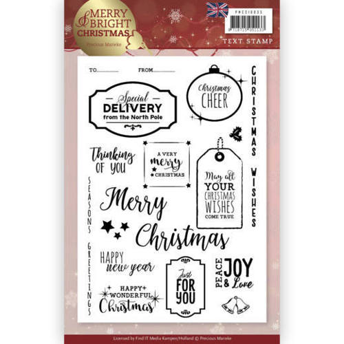 PMCS10035 Clear Stamp - Precious Marieke - Merry and Bright Christmas - ENG