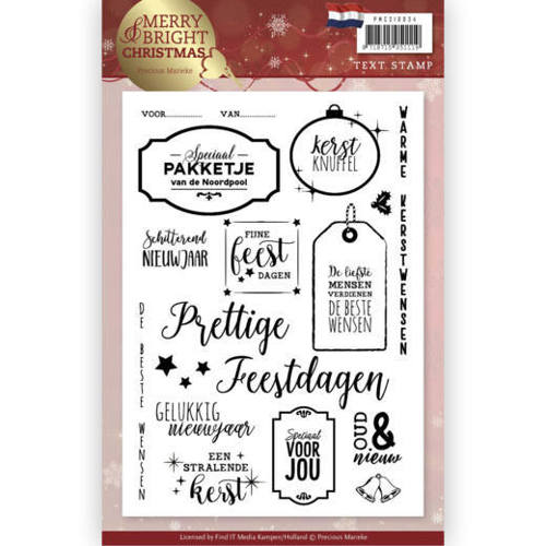 PMCS10034 Clear Stamp - Precious Marieke - Merry and Bright Christmas - NL