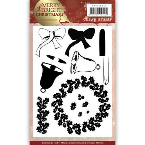 PMCS10033 Clear Stamp - Precious Marieke - Merry and Bright Christmas - Wreath