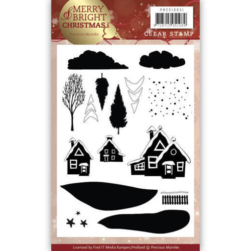 PMCS10031 Clear Stamp - Precious Marieke - Merry and Bright Christmas - Christmas House