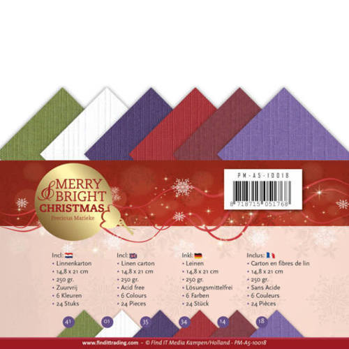 PM-A5-10018 Linnenpakket -  A5- Precious Marieke - Merry and Bright Christmas