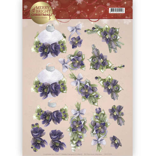 CD11123 3D knipvel - Precious Marieke - Merry and Bright -Bouquets in purple