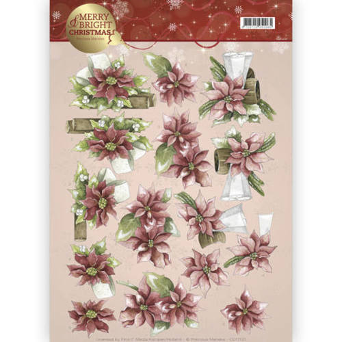 CD11121 3D knipvel - Precious Marieke - Merry and Bright - Poinsettia in red