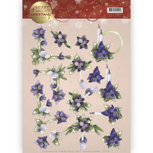 CD11120 3D knipvel - Precious Marieke - Merry and Bright - Amaryllis in purple