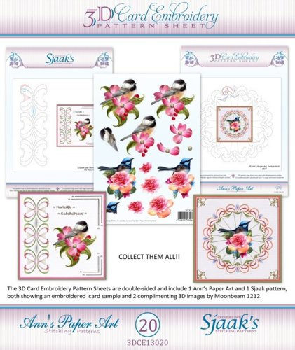 3DCE13020 3D knipvel - Ann's Paperart - 3D Card Embroidery Pattern Sheet #20 with Ann & Sjaak