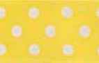 SR1203-01 Satin white Polka Dots 38mm 20mtr yellow/white dots