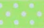 SR1203-02 Satin white Polka Dots 38mm 20mtr light green/white dots