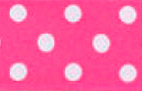 SR1203-10 Satin white Polka Dots 38mm 20mtr fuchsia/white dots