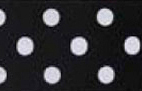 SR1203-14 Satin white Polka Dots 38mm 20mtr black/white dots