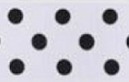 SR1203-15 Satin white Polka Dots 38mm 20mtr white/black dots