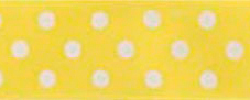 SR1204/25-01 Satin white Polka Dots 25mm 20mtr yellow